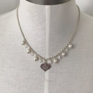 9.25 silver real Perl's ,crystals necklace